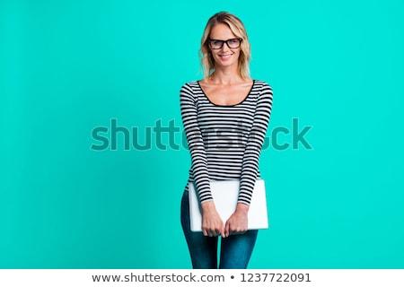 vonzó · szőke · nő · tart · laptop · alkalmi · ruha · laptop · számítógép - stock fotó © photography33