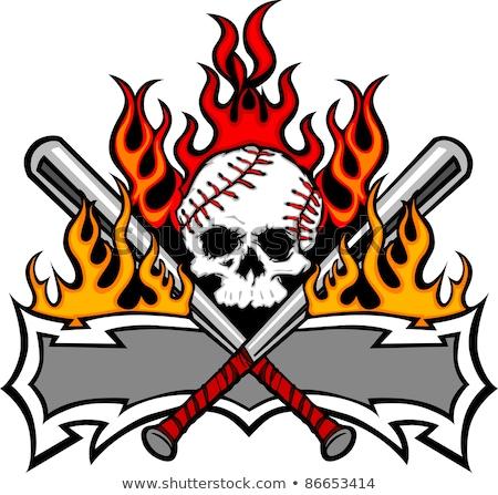 softball baseball skull and bats flaming template image stock photo © chromaco