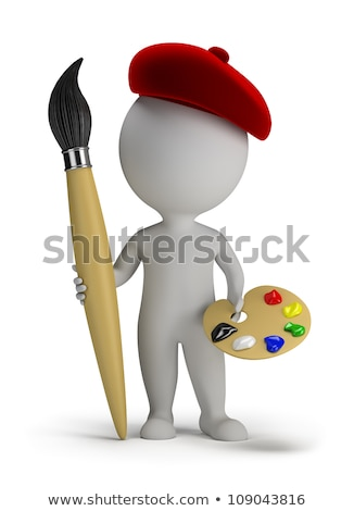 3d small people   artist with a large brush stock photo © anatolym
