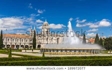 Fountain in front of Jeronimos monastery, Belem. Lisbon  stock photo © serpla