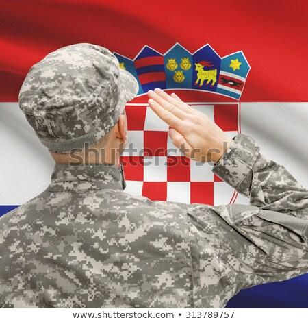 exército · Croácia · quadro · guerra · serviço · silhueta - foto stock © perysty