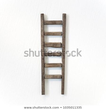 bois · étape · échelle · isolé · blanche · eps10 - photo stock © perysty
