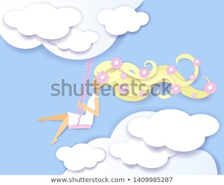 Fiatal modell égbolt rózsaszín virágok illusztráció Stock fotó © cherju