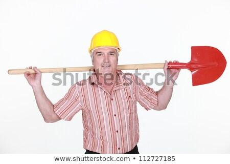 segédmunkás · tart · ásó · fa · építkezés · háttér - stock fotó © photography33