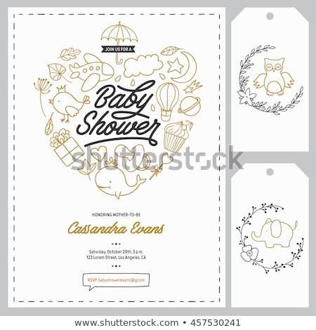 Foto stock: Owl Baby Shower Invitation Card Set