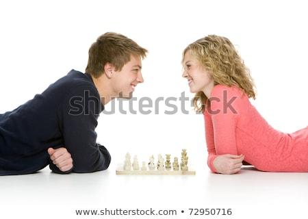 Coppia · piano · giocare · scacchi · faccia - foto d'archivio © photography33