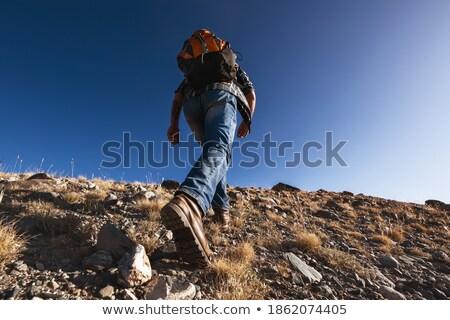 paire · vieux · sale · trekking · bottes · isolé - photo stock © witthaya