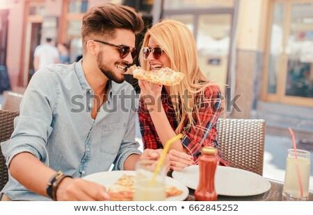食べ 外に ピザ屋 女性 ピザ ストックフォト © photography33