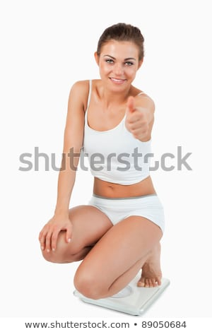 portret · cienki · kobieta · skali · kciuk · w · górę - zdjęcia stock © wavebreak_media