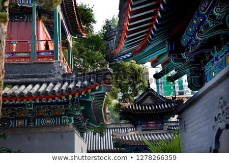 китайский стиль зданий корова улице мечети Сток-фото © billperry