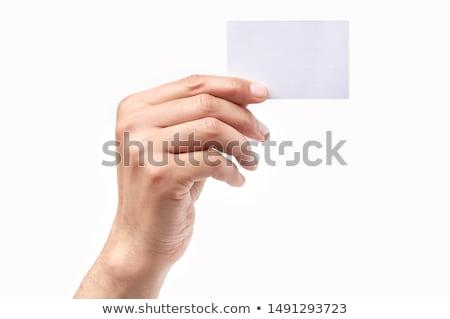 Empresário cartão cartão de visita mão escritório Foto stock © photochecker