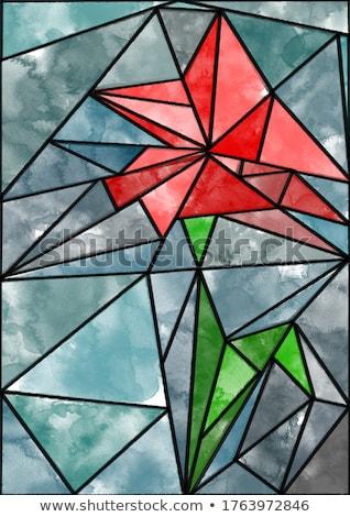 Red vector umbrella puzzle background concept Stock photo © krabata