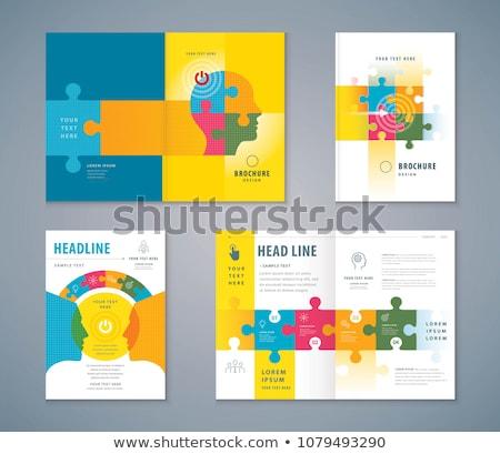 quebra-cabeça · vetor · cartaz · homem · cérebro · vermelho - foto stock © krabata