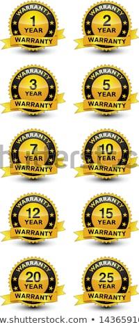 15 év garancia bélyegek piros pecsét Stock fotó © THP