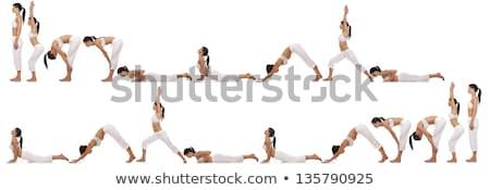 Yoga brunette jeunes formation Homme Photo stock © zdenkam