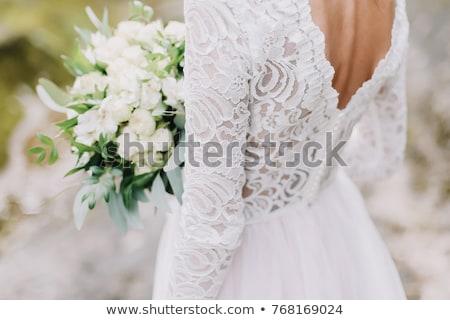 Stockfoto: Trouwjurk · moderne · witte · geïsoleerd · bloemen · schoonheid