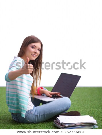 Stock photo: casual woman sits with laptop & ok