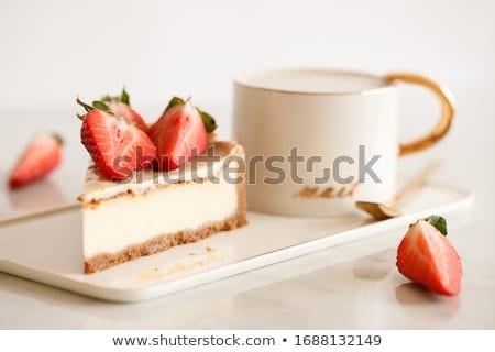 Cheesecake çay dilim fincan gıda meyve Stok fotoğraf © luminastock