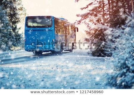 Biały autobus zimą neutralny działalności szkła Zdjęcia stock © tainasohlman