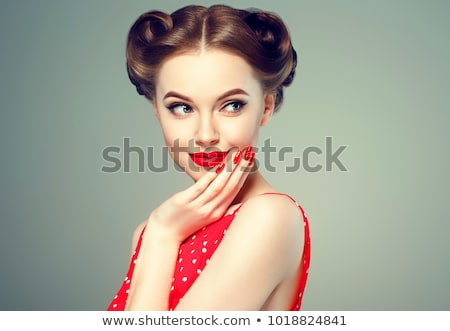pin-up style portrait of beautiful brunette girl stock photo © Glenofobiya