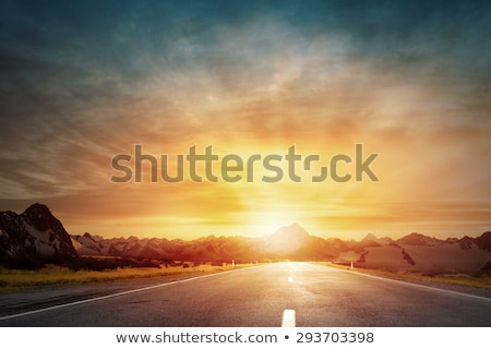 dramático · pôr · do · sol · asfalto · estrada · sol · luz - foto stock © ongap