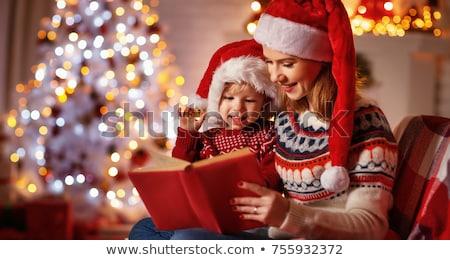 blanche · rouge · arbre · de · noël · salle · vide · décoré - photo stock © hasloo
