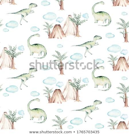 cartoon funny green tyrannosaurus rex dinosaur stock photo © thodoris_tibilis