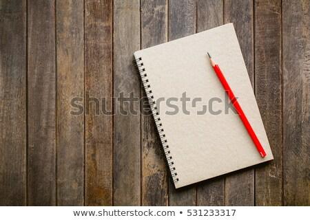 Rood notebook hout kantoor boek school Stockfoto © tungphoto