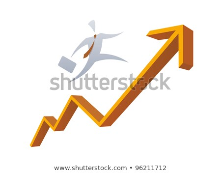 Businessman running on a red graph arrow. Isolated stock photo © Kirill_M