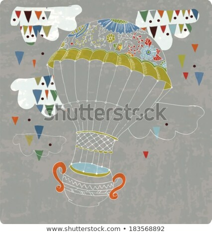 hot Air Balloon in sky with tea cup and abstract clouds Stock photo © Elmiko