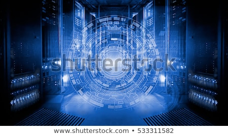 Data Storage System - Row of Network Servers with Globe stock photo © fenton