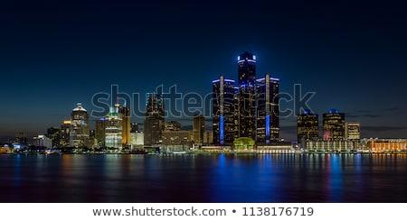 Detroit skyline stad stedelijke zwarte silhouet Stockfoto © compuinfoto