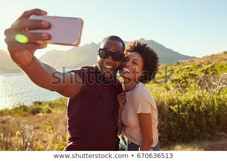 Coppia amichevole cartoon snapshot amore telefono Foto d'archivio © blamb