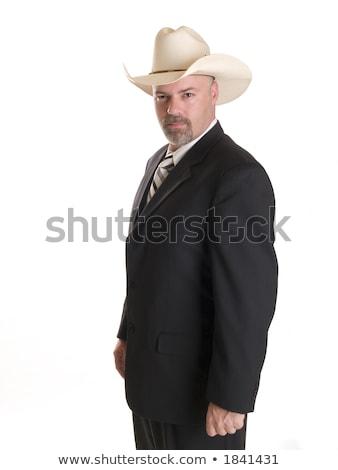 бизнесмен ковбойской шляпе изолированный складе фото серьезный Сток-фото © dgilder