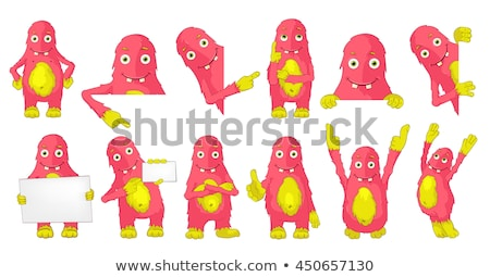 monster holding banner stock photo © lightsource