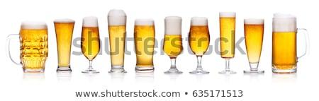 cerveja · óculos · lanches · mesa · de · madeira · nozes - foto stock © hiddenhallow