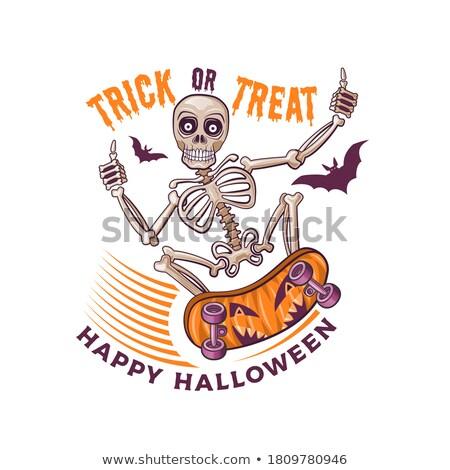 Halloween Greetings. Skeleton Jump Stock photo © cienpies