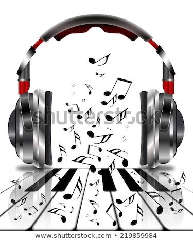 Valósághű fejhallgató hangjegyek zongora zene hangszóró Stock fotó © ankarb