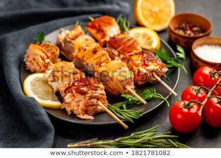 salmon kebab with vegetables stock photo © saddako2