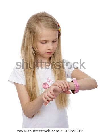 Menina veja relógio loiro apressar Foto stock © aza