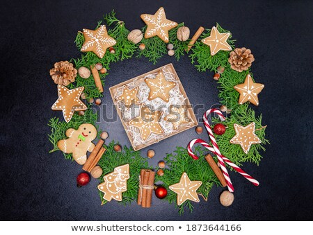 Foto stock: Little Box With A Variety Of Cookies And Nuts