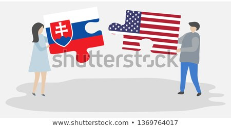 Stock photo: USA and Slovakia Flags in puzzle