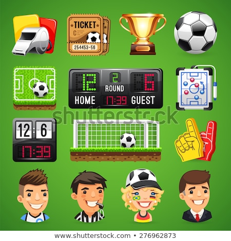 Realistic Vector Icons Set on the Theme of Soccer Stock photo © Voysla