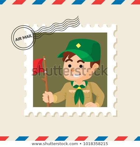 Fiú postabélyeg Görögország 1960 kettő ültet Stock fotó © sirylok