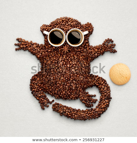 Cookie grappig koffiebonen twee Stockfoto © Fisher