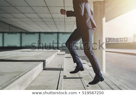 homme · courir · up · escaliers · bâtiment · bureau - photo stock © fuzzbones0