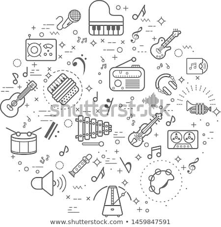 colored hand draw music icon set stock photo © netkov1