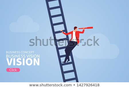 Businessman with telescope Stock photo © alphaspirit