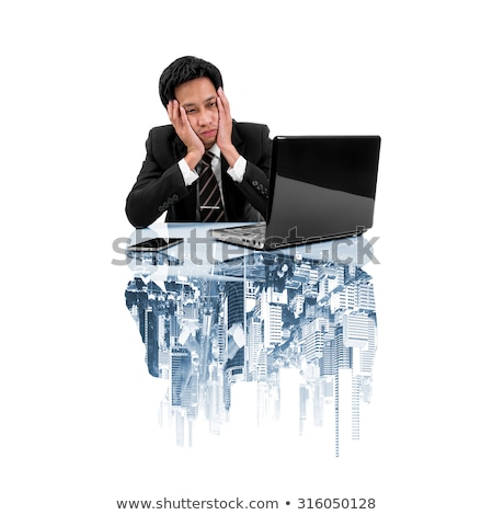 Tired exhausted businessman in trouble, double exposure Stock photo © stevanovicigor