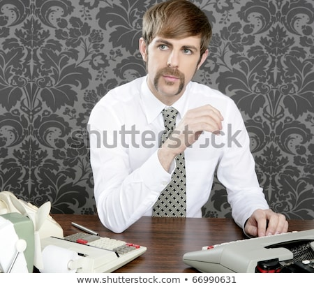 mustache retro businessman vintage office Stock photo © lunamarina